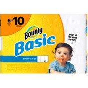 Bounty Basic Bounty Basic Select-A-Size Paper Towels, White, 6 Mega Rolls = 10 Regular Rolls Towels/Napkins
