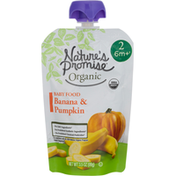 Nature's Promise Baby Food, Organic, Banana & Pumpkin, Stage 2 (6+ Months)