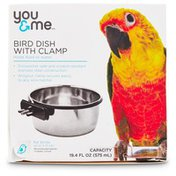 You & Me Stainless Steel Bird Dish with Clamp