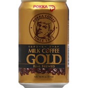 POKKA Milk Coffee, Gold, Real Brewed