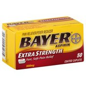Bayer Pain Reliever/Fever Reducer, Extra Strength, 500 mg, Coated Caplets