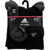 adidas Socks, Crew, Black, 3Y-9, Large