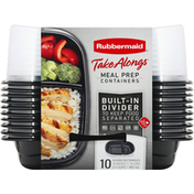 Rubbermaid Meal Prep Containers, Divided Rectangles