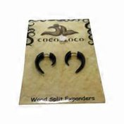 Coco Loco Jewelry Wood Split Expanders Hook Earrings - Black - Small