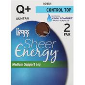 L'eggs Pantyhose, Control Top, Medium Support Leg, Q+ Suntan