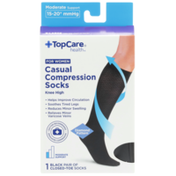 TopCare Moderate Support Casual Black Closed-Toe Knee High Compression Socks For Women, X-Large