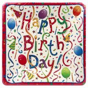 Caspari Salad-Dessert Plates, Happy Birthday, 7 Inch