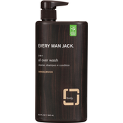 Every Man Jack All Over Wash, Sandalwood, 3-in-1