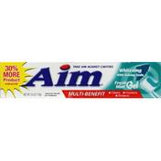 AIM Toothpaste, Anticavity Fluoride, Whitening with Baking Soda, Fresh Mint Gel