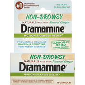 Dramamine Naturals Non-Drowsy Motion Sickness Relief Dietary Supplement Capsules