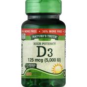 Nature's Truth D3, High Potency, 125 mcg (5000 IU), Softgels