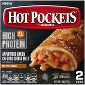 Hot Pockets High Protein Applewood Bacon Cheddar Cheese Melt Frozen Sandwiches