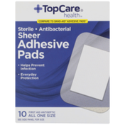 TopCare Antibacterial First Aid Antiseptic All One Size Adhesive Pads, Sheer