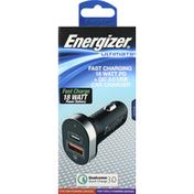 Energizer Car Charger, 18 Watt PD + QC 3.0 USB, Fast Charging