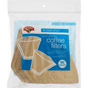 Hannaford #4 Cone Style Natural Unbleached Coffee Filters