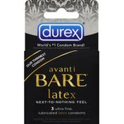 Durex Condoms, Latex, Lubricated, Ultra Fine
