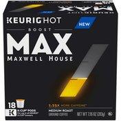 Maxwell House MAX Boost by 1.25x Caffeine Medium Roast Ground Coffee K-Cup Pods