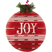 Gerson Ornament, with Pine and Berry Accent, Wooden, Joy, 13 Inch