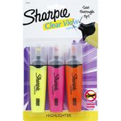 Sharpie Highlighters, Clear View, Medium, Assorted Fluorescent