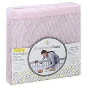 Breatheablebaby Crib Liner, Pink, Breathable Mesh, Classic