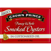 Crown Prince Smoked Oysters, in Cottonseed Oil, Fancy Whole