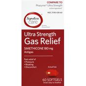 Signature Care Gas Relief, Ultra Strength, Simethicone 180 mg, Softgels