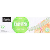 Essential Everyday Sandwich Bags, Click 'n Lock Double Zipper, Extra Large