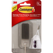 3M Command Hook, Brushed Nickel, Medium