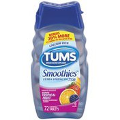 Tums Extra Strength 750 Tropical Fruit Smoothies Antacid Calcium Supplement