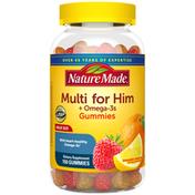 Nature Made Men's Multivitamin + Omega-3  Gummies - Strawberry, Lemon & Orange