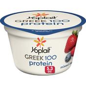 Yoplait Greek 100  Protein Yogurt, Mixed Berry, 14g Protein, Fat Free