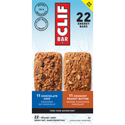 CLIF BAR Energy Bars, Chocolate Chip/Crunchy Peanut Butter, New Pack, 22 Pack