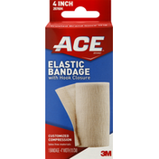 Ace Elastic Bandage, with Hook Closure, 4 Inch Width