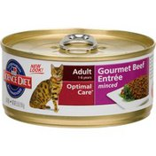 Hill's Science Diet Cat Food, Premium, Adult (1-6 Years), Savory Beef Entree, Minced