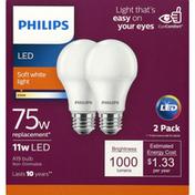 Philips Light Bulbs, LED, Soft White, 11 Watts, 2 Pack