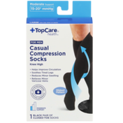 TopCare Moderate Support Casual Black Closed-Toe Knee High Compression Socks For Men, Large