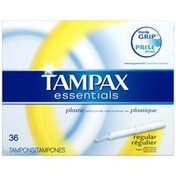 Tampax Essentials Plastic Applicator Regular Absorbency Unscented Tampons