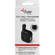 Fuse Wall + Car Charger, 2 in 1