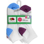 Fruit of the Loom Socks, Ankles, Girls, Medium