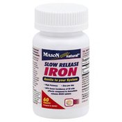 Mason Natural Iron, Slow Release, Tablets, Bottle