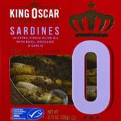King Oscar Sardines, In Extra Virgin Olive Oil, with Basil, Oregano & Garlic