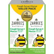 Zarbee's Naturals Children's Twin Pack Cough Syrup with Dark Honey Daytime, Natural Grape Flavor