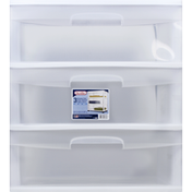 Sterilite Drawer Cart, 3, White, Wide