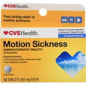 CVS Health Motion Sickness, Original Formula, Tablets