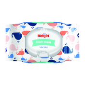 Meijer Baby Wipes, Fresh Scent, Whales