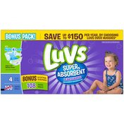 Luvs Super Absorbent Leakguards Diapers Size 4 Bonus Pack 108 count Diapers