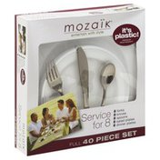Mozaik Plates and Cutlery Set, Premium Heavyweight Plastic