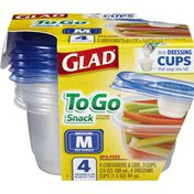 Glad To Go Snack Containers & Lids Medium Rectangle - 4 CT