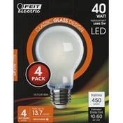 Feit Electric Bulbs, LED, Soft White, 5 Watts, 4 Pack