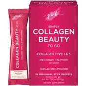 Luster's Pink Collagen Beauty, Simply, Collagen Type 1 & 3, Unflavored Powder